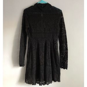 Free People Beach Long Sleeve Black Lace Dress